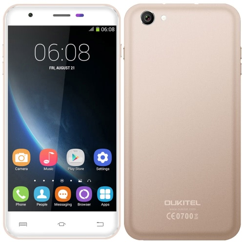 OUKITEL U7 Pro Mobile Phone 5.5'' MTK6580 Quad Core 1.3GHz 1280 * 720 HD Android 5.1 1GB RAM 8GB ROM 13.0MP Dual SIM WCDMA 2500mAh Battery Smart Phone