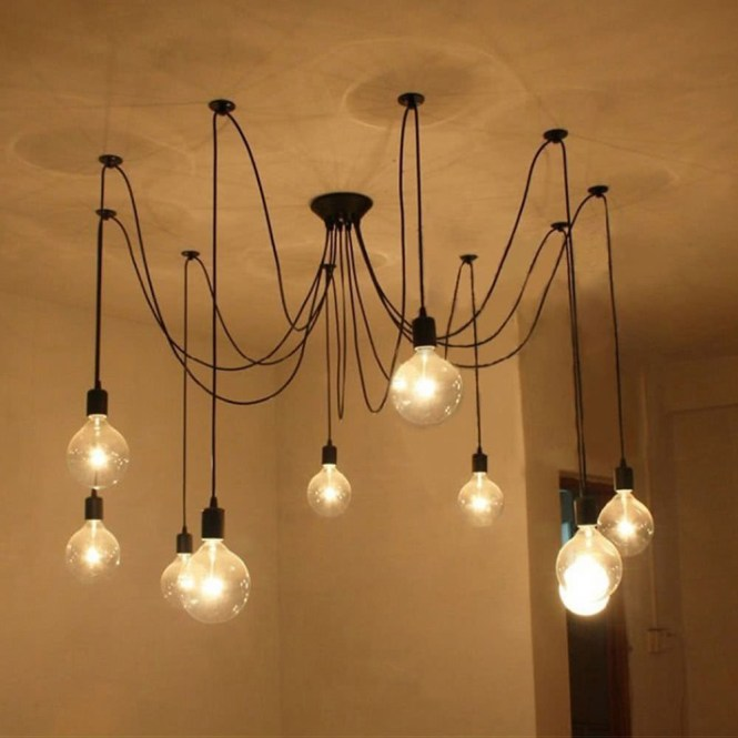 Lixada 9 Arms E27 Ceiling Spider Pendant Lamp Light Antique Classic Adjule Diy Retro Chandelier Dining Hall Bedroom Home Lighting Fixture