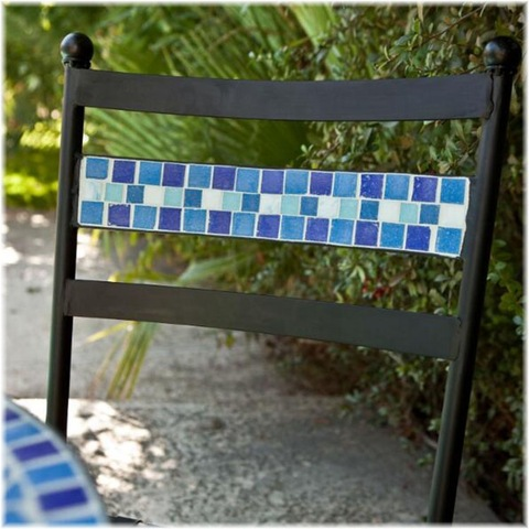 piece aqua blue mosaic tiles patio
