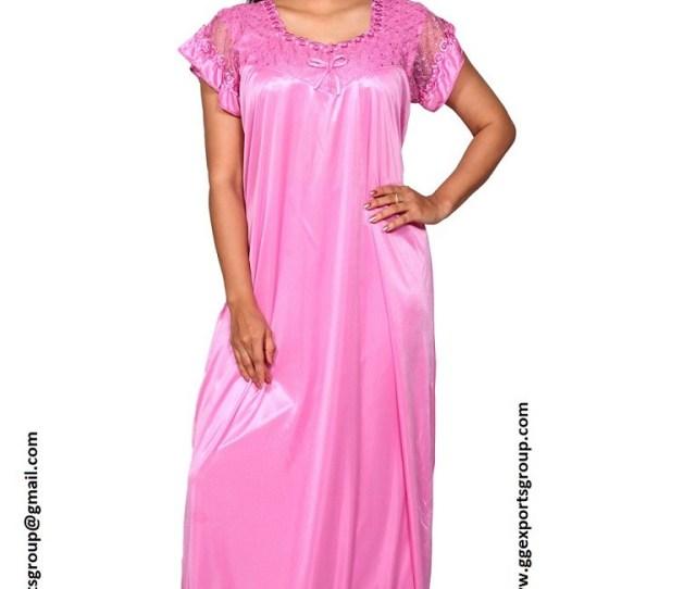 Womens Pink Satin Nighty