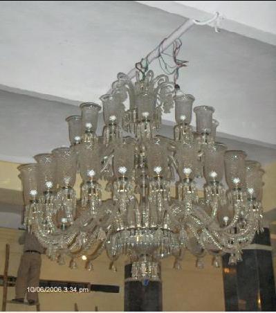 Mughal Style Elegant Cut Glass Chandeliers In Inderlok