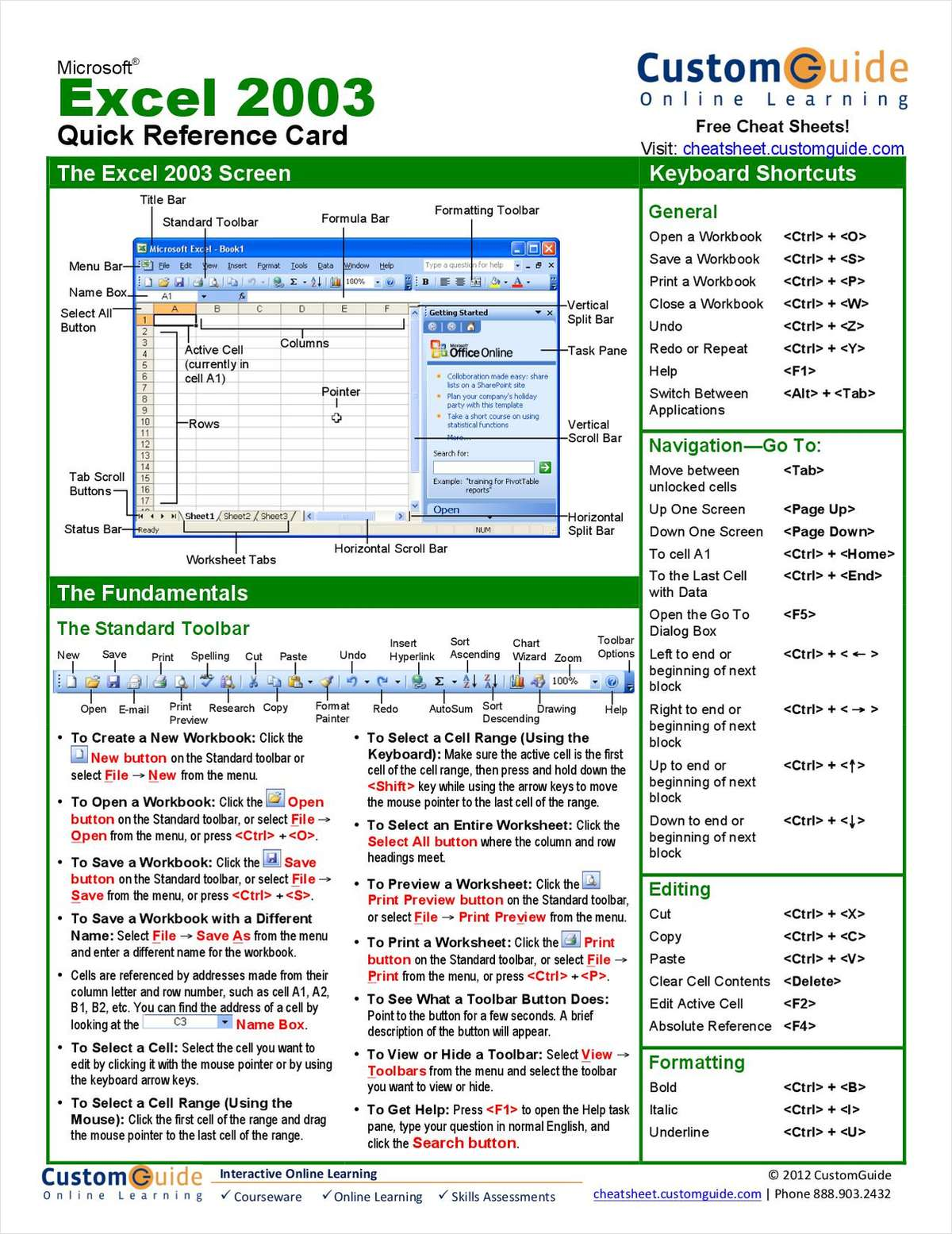 Microsoft Excel Free Quick Reference Card Free