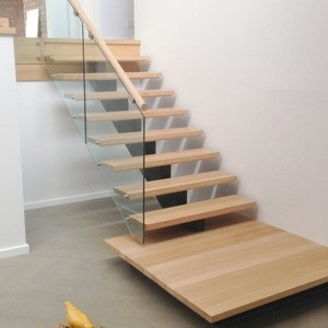Luxury Customized Wooden Handrail Glass Railing Wood Stairs | Wood And Glass Staircase | Stair Case | Simple | Spiral | Small | Light Oak Glass