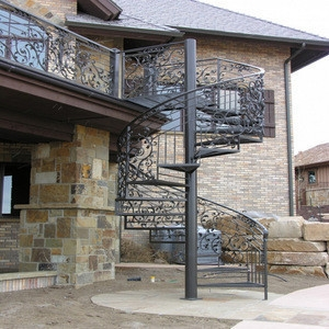 Decorative Classic Steel Spiral Staircase Outdoor Metal Staircase   Outdoor Spiral Staircase Installation   Simple   3 Floor   Outdoor   Backyard   Roof Deck