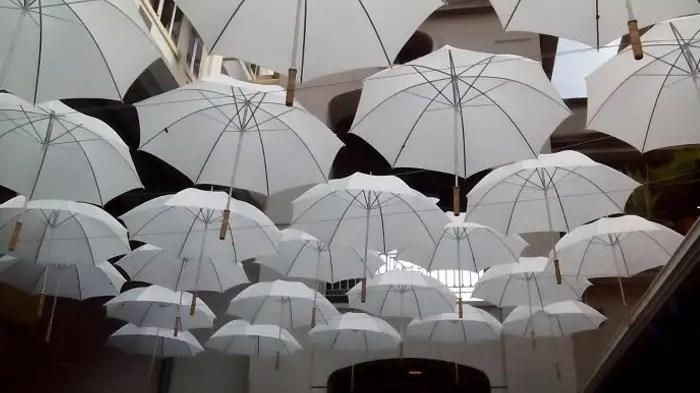Umbrella covered market in Port Louis Mauritius