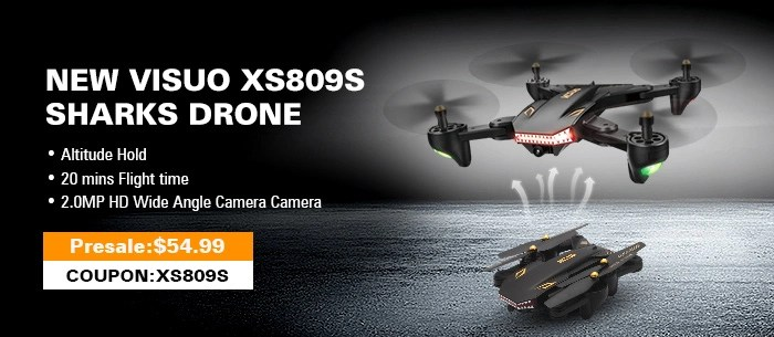 Get $4 discount for VISUO XS809S 0.3MP Camera Foldable 20mins Flight Time SHARKS Drone Wifi FPV RC Quadcopter RTF 0.3MP Camera / 3.7V 1800mAh battery, the fly time up to 20 mins / Altitude Hold / One Key Return / G-sensor,Presale
