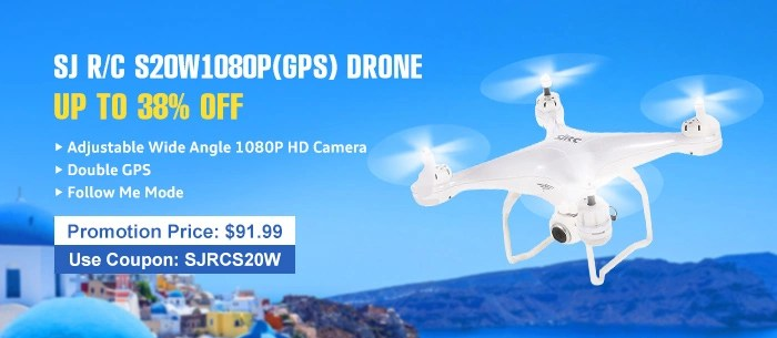 Get $8 discount for SJ R/C S20W1080P(GPS) FPV RC Quadcopter Drone-RTF Adjustable 1080P HD Camera / Wide Angle / Double GPS Positioning / Altitude Hold