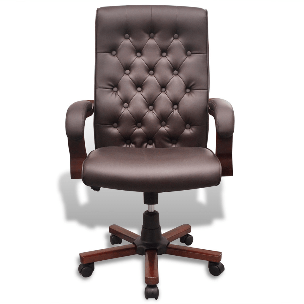fauteuil de bureau chesterfield en cuir artificiel marron
