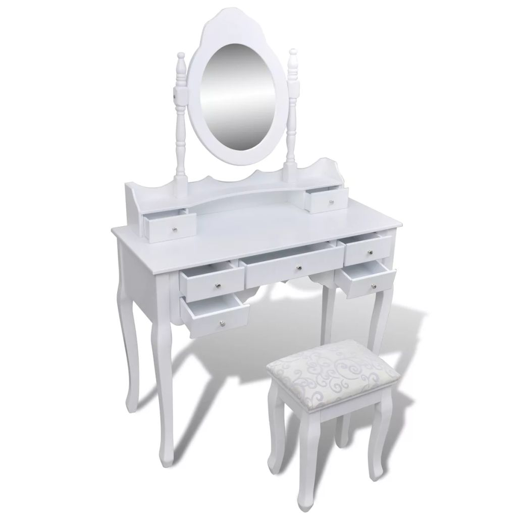 coiffeuse blanche 7 tiroirs avec 1 miroir et 1 tabouret