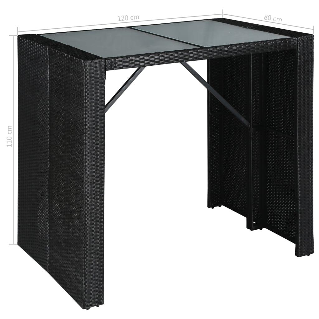 bar de jardin terrasse 4 pers polyrotin table en verre 120cm