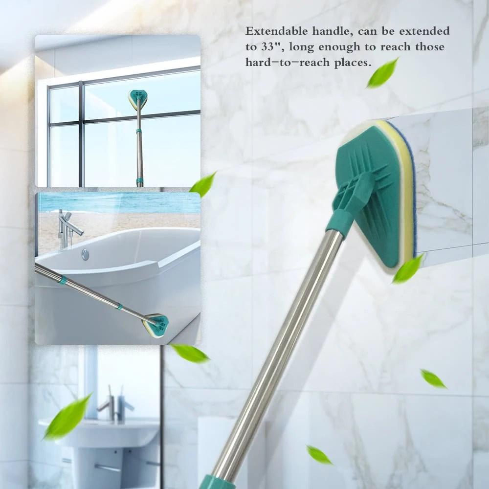 Bathroom Scrubber Bathtub Cleaner Kitchen Window Scrubbing Mop Brush Extendable Handle Cleaning