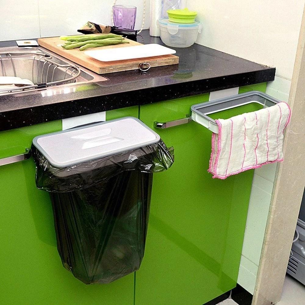 1pcs hanging trash bag holder door kitchen cabinet garbage organizer