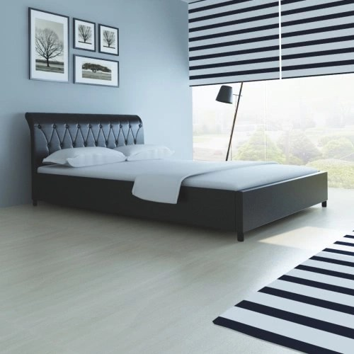 Faux Leather Bed 140 x 200 cm Black Quilted Mattress from Memory