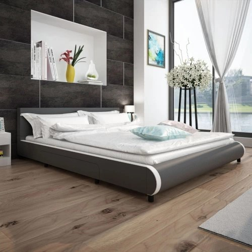 Bed in Gray Artificial Leather with 2 Drawers 180 x 200 cm