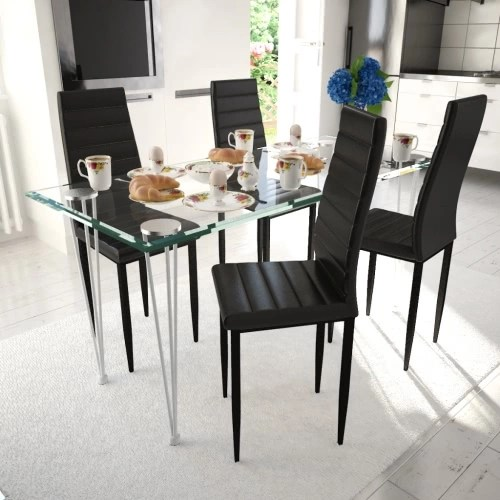Set of 4 black chairs with thin lines with a glass table
