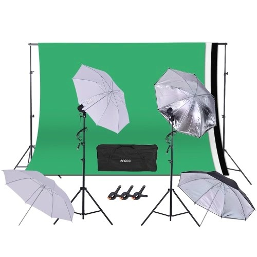 photography studio andoer photography video studio photo 45w 5500k bulb studio lighting kit umbrella with 5 2 x 9 8ft backdrop support system for