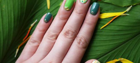 [指彩] [光療指甲] 綠色系指甲彩繪,夏季指彩