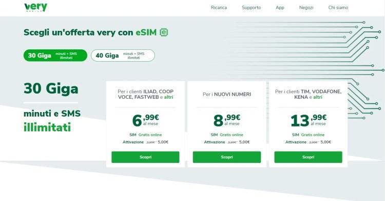 offerte eSIM Very Mobile