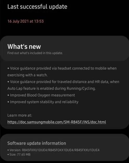 Samsung Galaxy Watch 3 aggiornamento