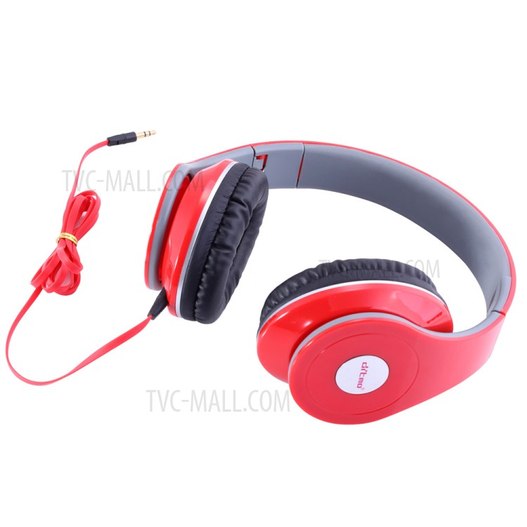 DITMO Foldable Stereo Wired Headphone with 3.5mm 1.2m Cable (DM-2600) - Red-2