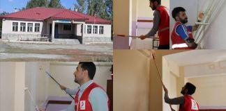 Kızılay gönüllüleri Ağrı'da köy okulunu boyayarak, yüz yüze eğitime hazırladı