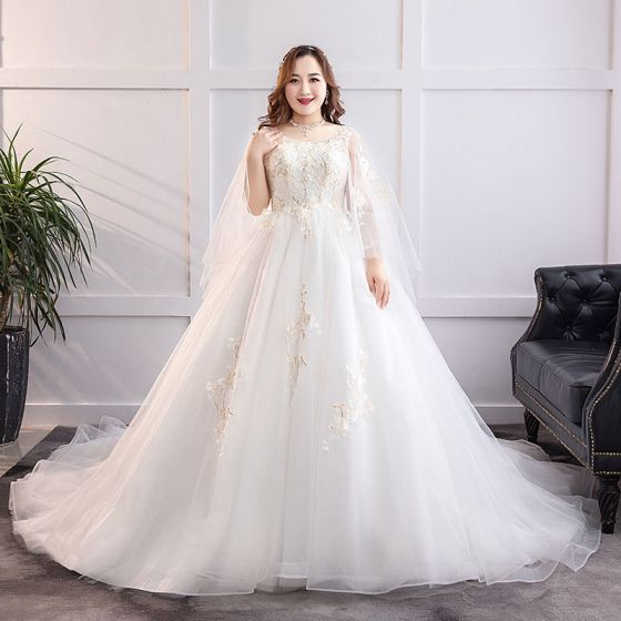 4ba30c2fac4 Modern Fashion White Plus Size Ball Gown Wedding Dresses 2019 Lace Tulle  Appliques Backless Beading Sequins