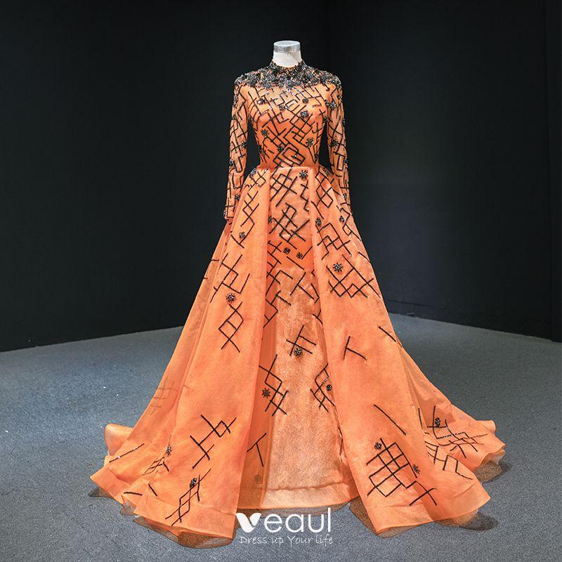 luxe orange tapis rouge robe de soiree 2020 princesse col haut manches longues appliques paillettes perlage train de balayage volants robe de