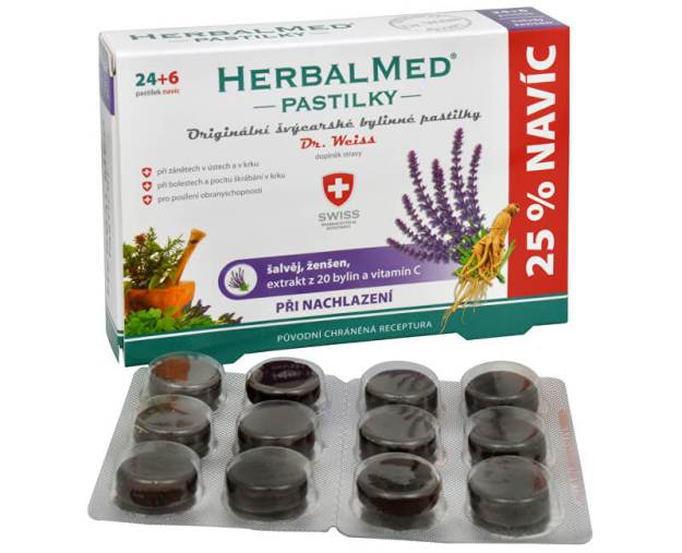 HerbalMed pastilky Dr. Weiss při nachlazení 24 pastilek + 6 pastilek ZDARMA (z3055) od www.prozdravi.cz