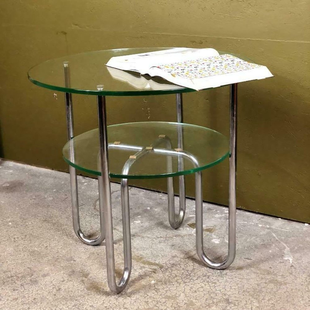 chrome glass coffee table by gispen