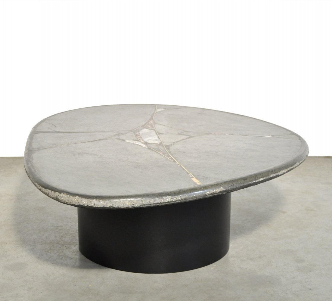 brutalist oval natural stone coffee table by sculptor paul kingma 1990s