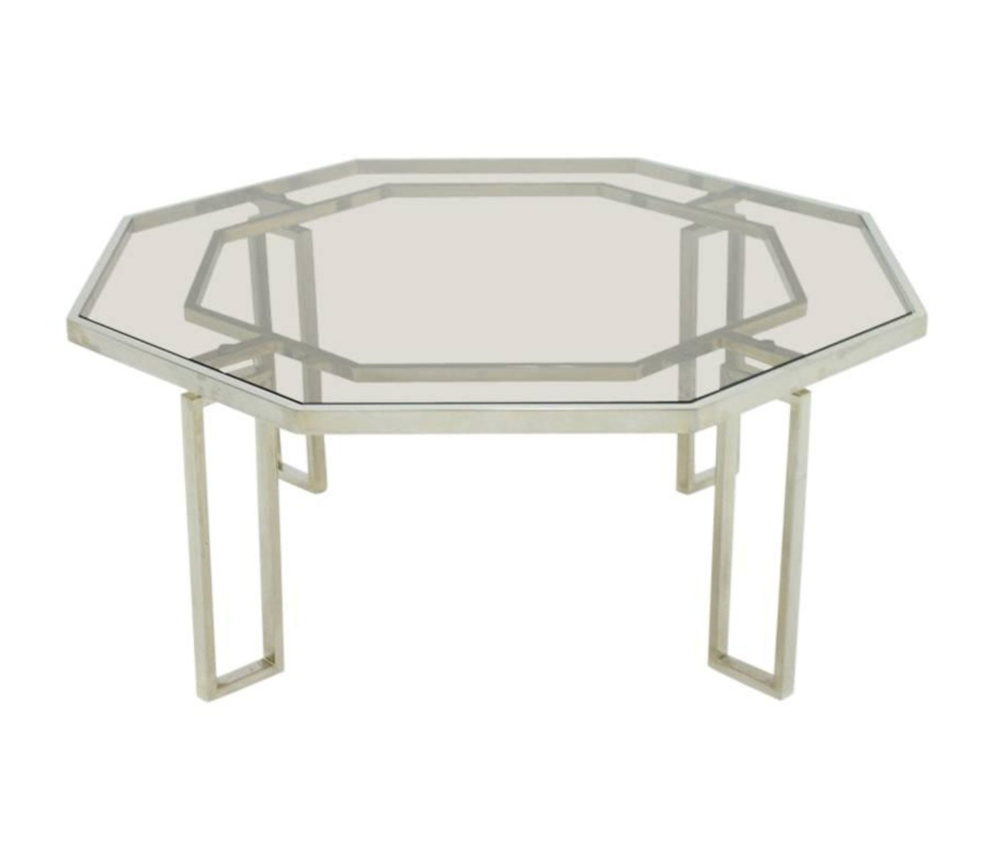 octagonal coffee table with metal base glass top 1960s