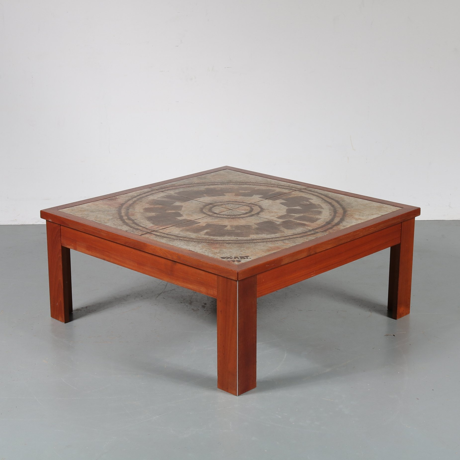 ceramic top coffee table by ox art denmark 1970s