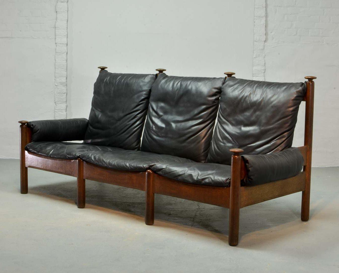 Mid Century Scandinavian Design Sturdy Black Leather Oak Wood 3 Seat Sofa 1960s 72867