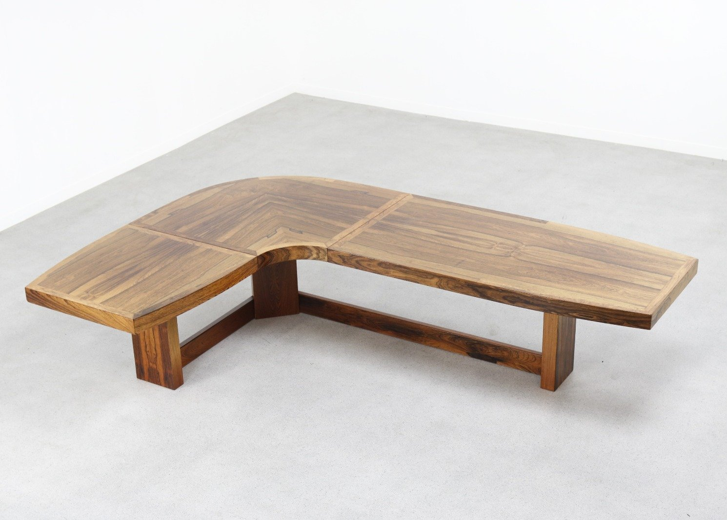 large l shaped coffee table in brazilian rosewood 1960s