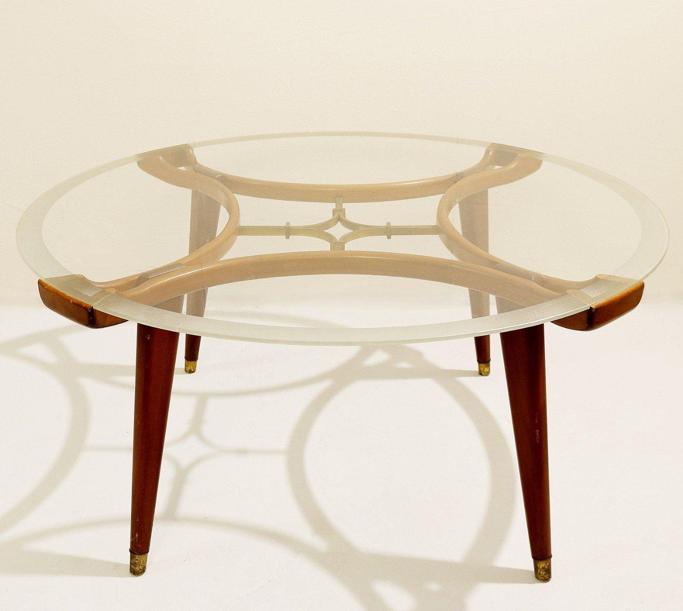 wood brass coffee table with circular glass top