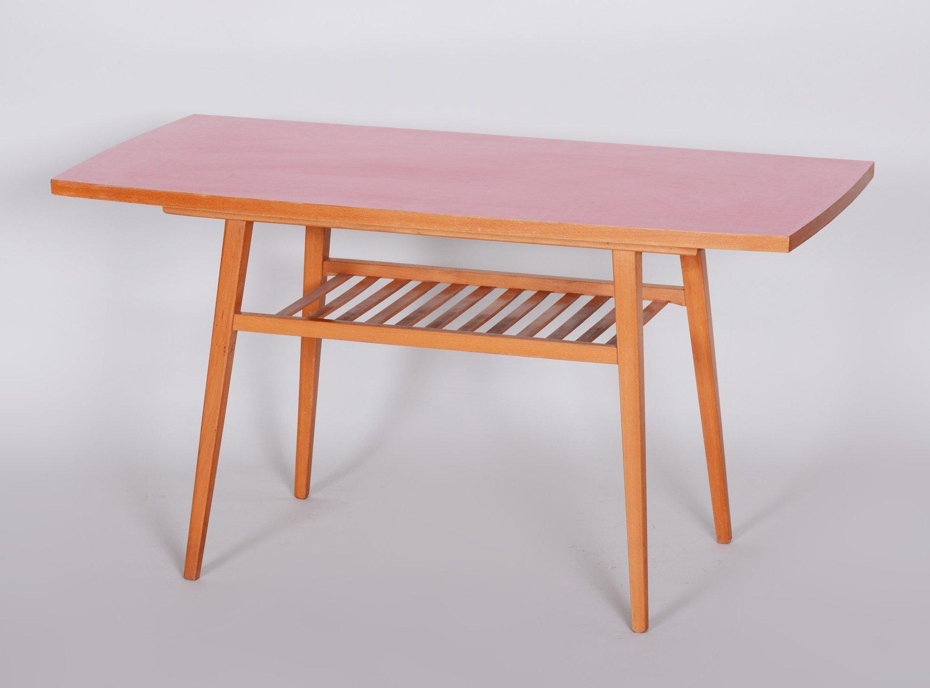 small midcentury coffee table in beech umakart czechia 1960s