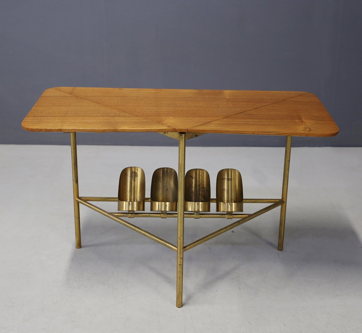 midcentury brass wood coffee table by