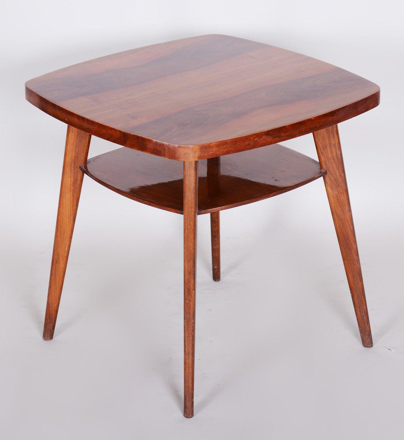 small walnut czech coffee table 1950s