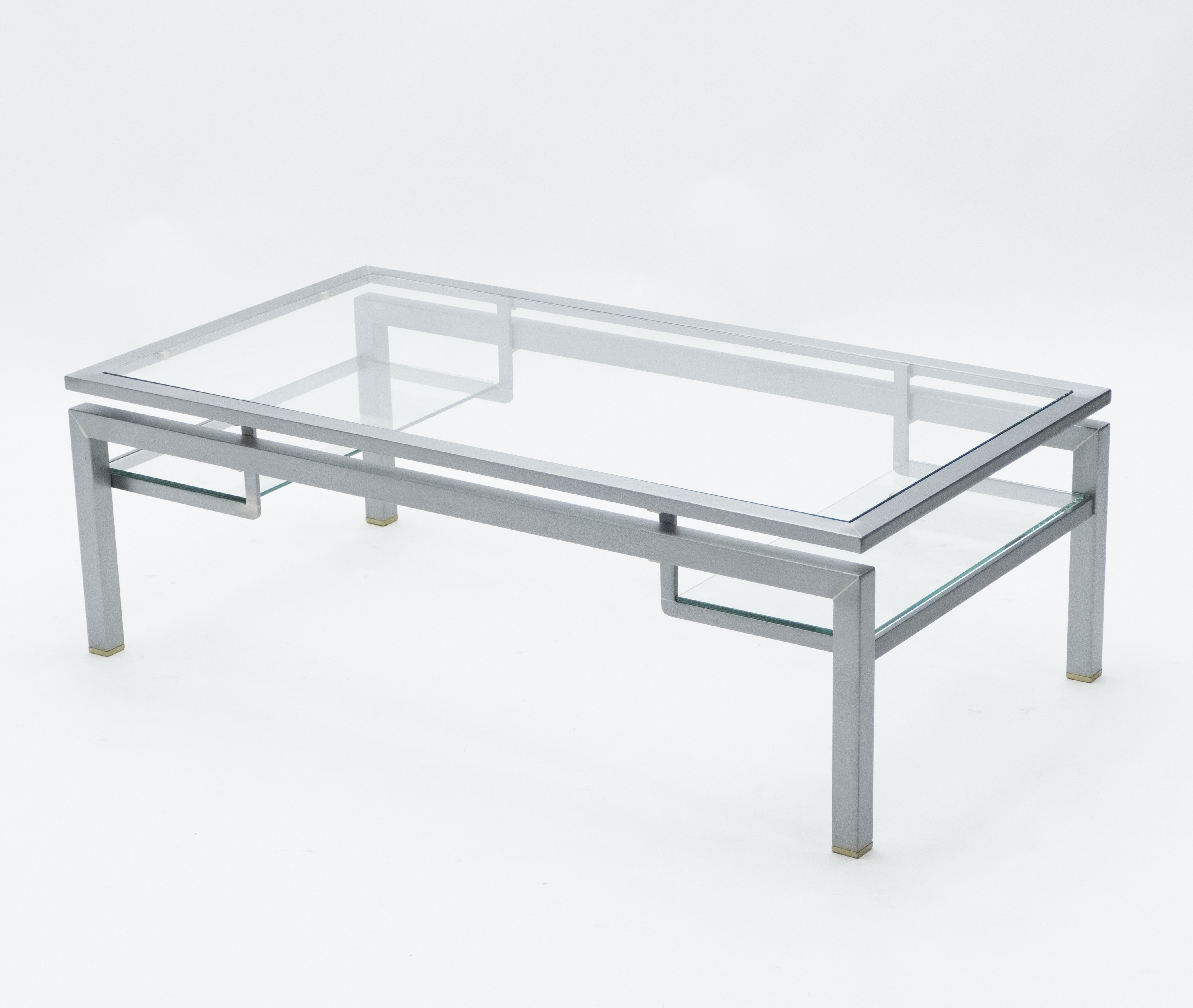 mid century brushed steel brass coffee table by guy lefevre for maison jansen 1970s