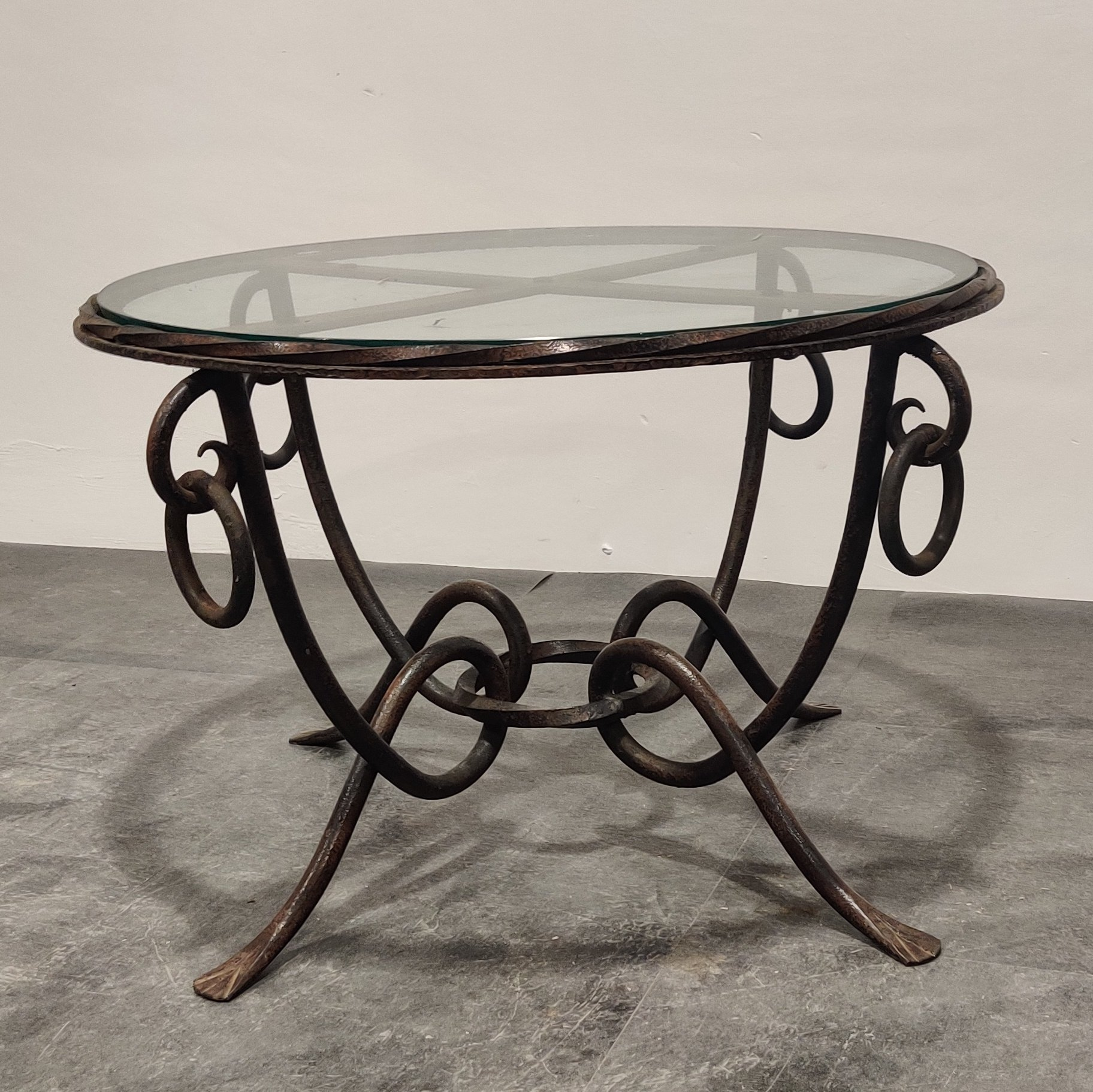 wrought iron coffee table by rene drouet 1940s