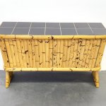 Mid Century Bamboo Sideboard With Black Ceramic Tiles France 1950s 136975
