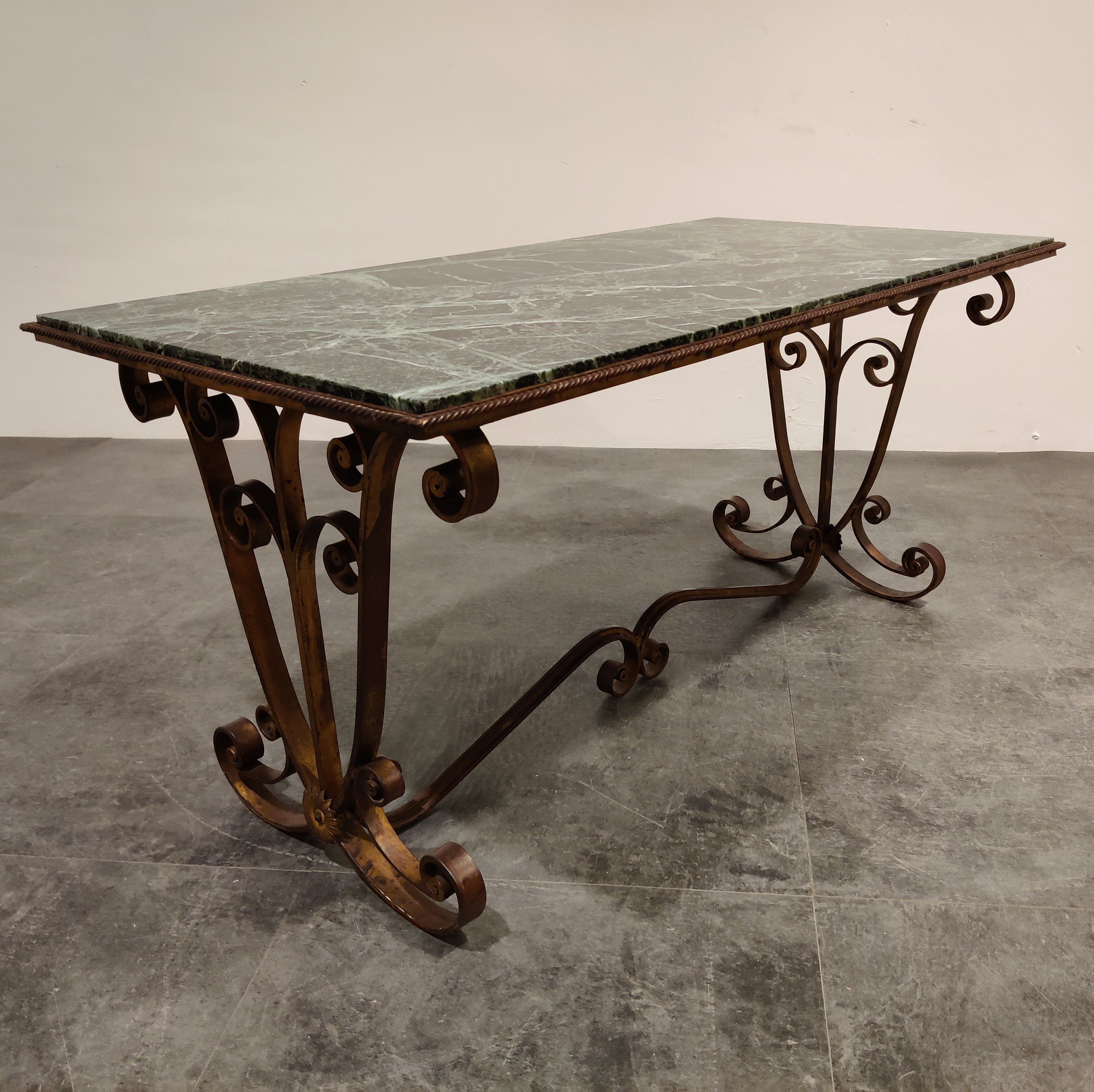 wrought iron marble coffee table 1950s