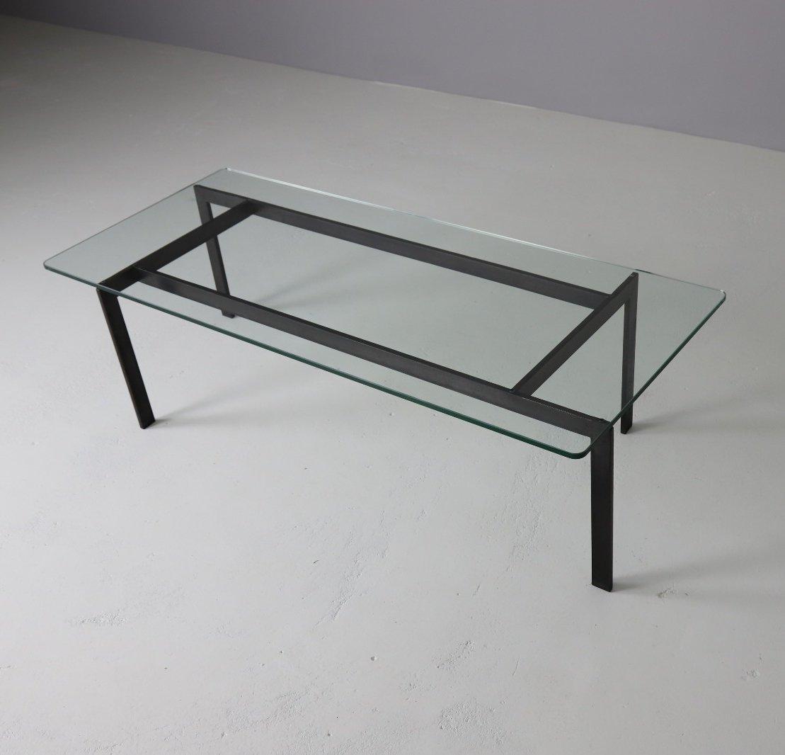 asymmetric wrought iron glass coffee table 1960s