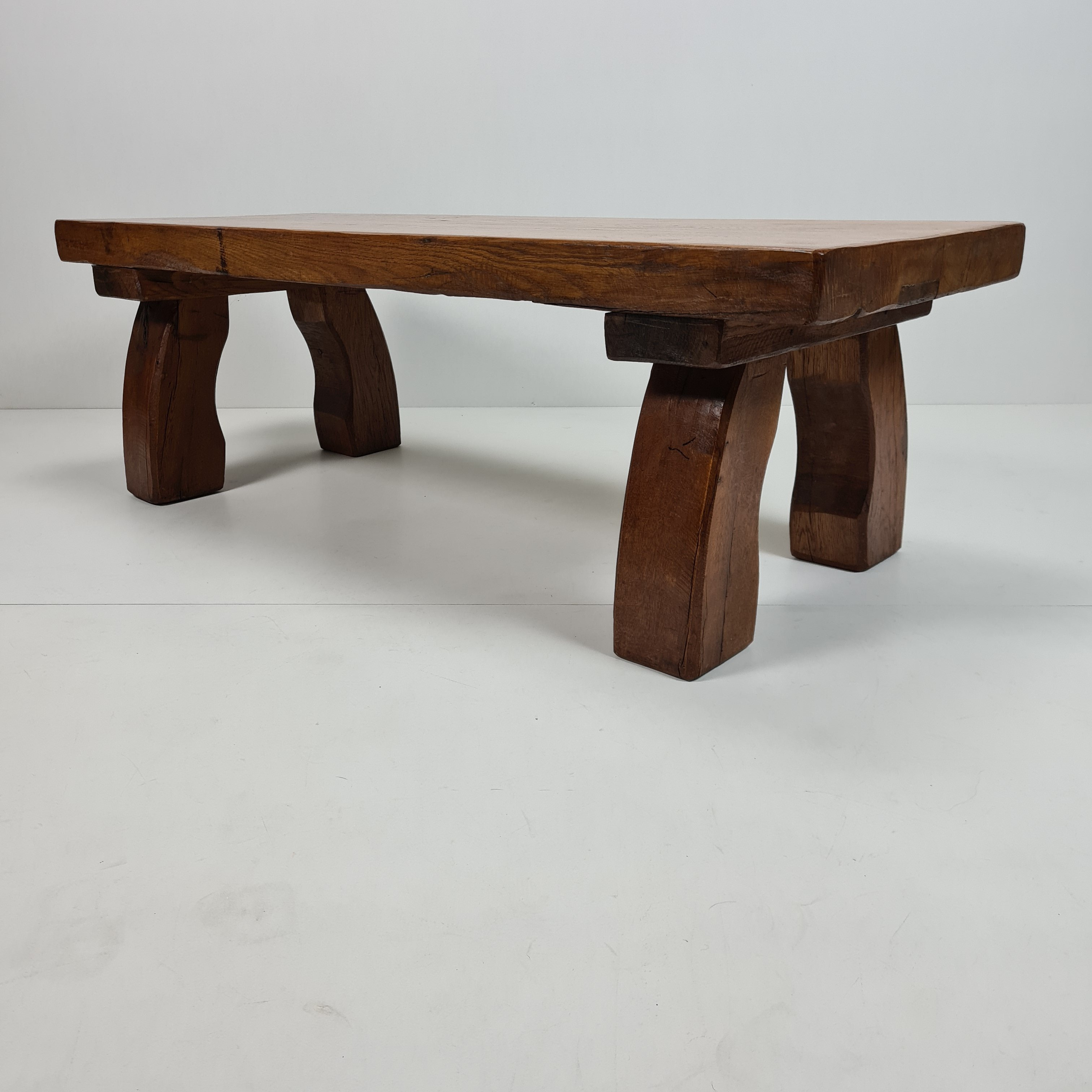 rustic robust solid oak rectangular coffee table with curved legs 1970s