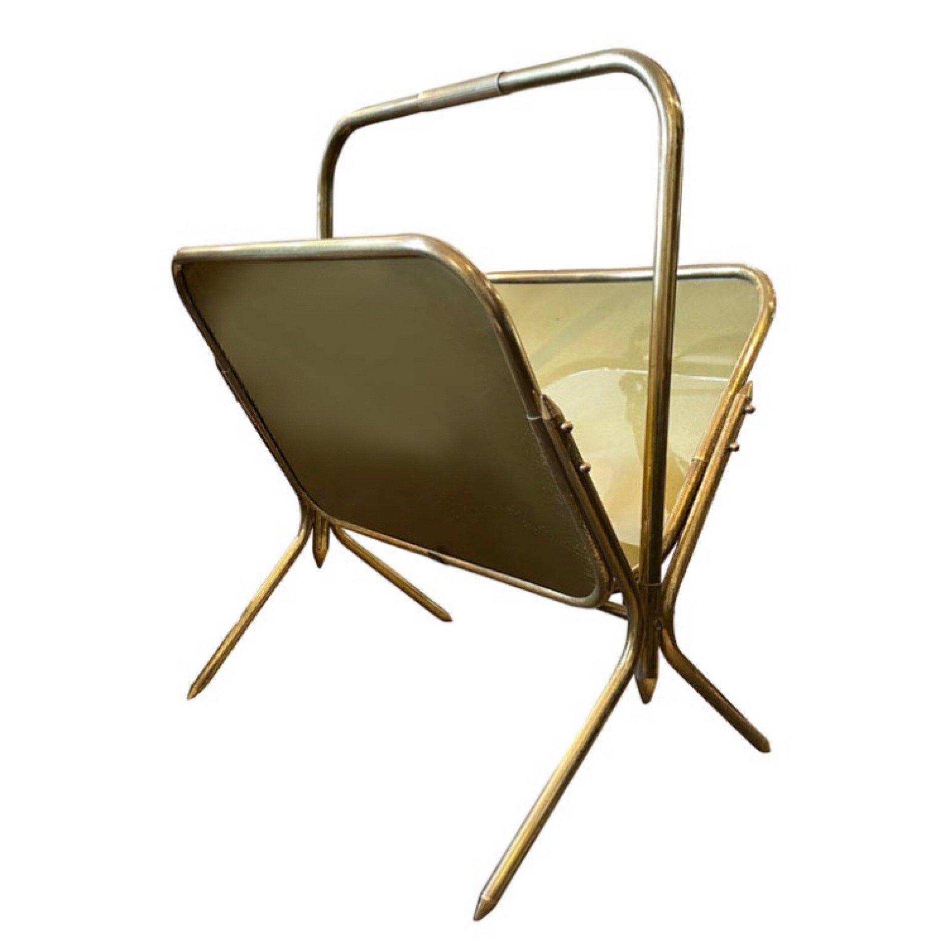 1950s mid century modern solid brass italian magazine rack