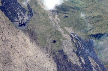 The current eruption site shows both the ash cones and the lava flow (Image: OVPF)