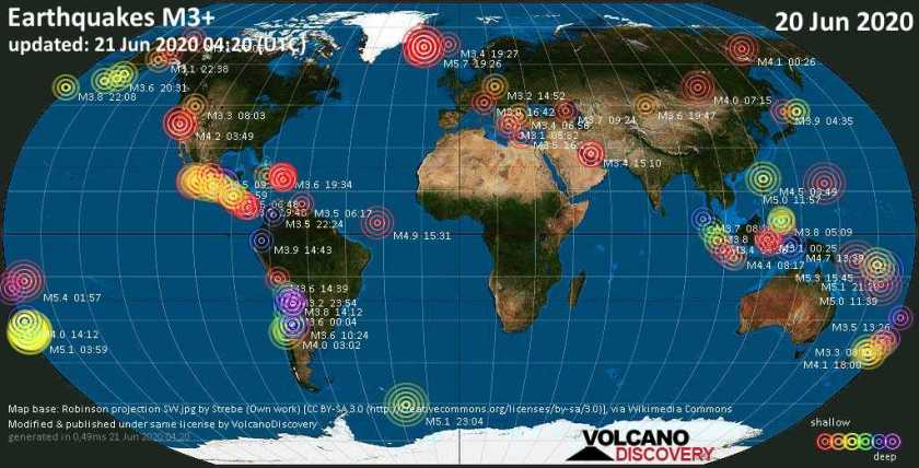 World map showing earthquakes above magnitude 3 during the past 24 hours on 20 Jun 2020