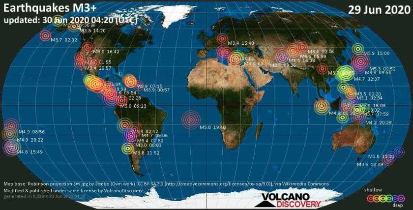World map showing earthquakes above magnitude 3 during the past 24 hours on 29 Jun 2020