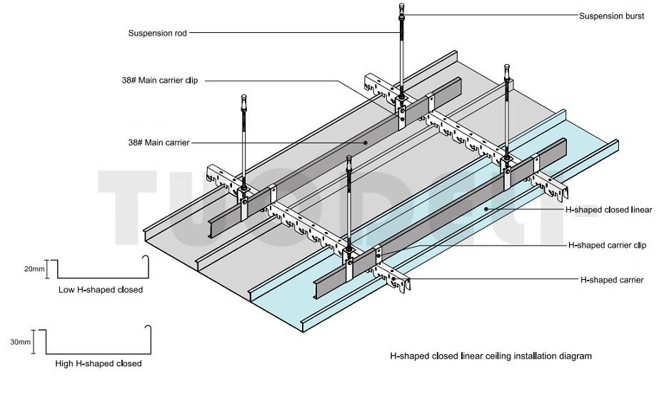 Techo lineal cerrado de aluminio
