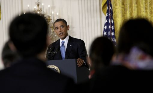President Obama addresses reporters during a news conference. (Jonathan Ernst/Reuters)